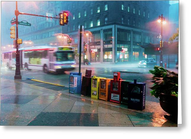 Newspaper Stands During Rain Storm Greeting Card