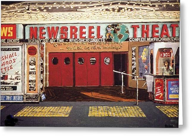 Newsreel Theatre Greeting Card by Paul Guyer