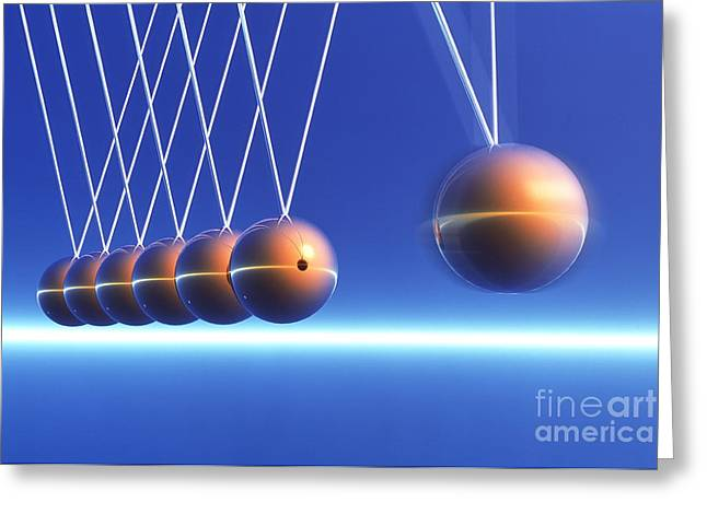 Newtons Cradle In Motion Greeting Card by Alfred Pasieka SPL