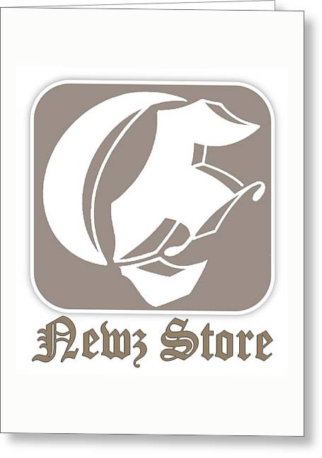 Greeting Card featuring the drawing Eclipse Newspaper Store Logo by Dawn Sperry