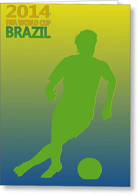 Neymar Brazil World Cup Greeting Card by Joe Hamilton