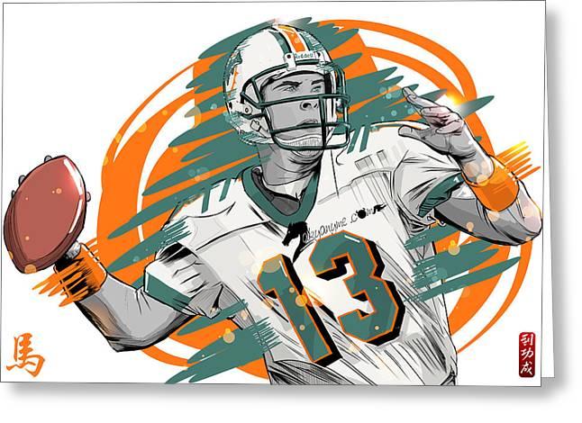 Nfl Legends Dan Marino Miami Dolphins Greeting Card