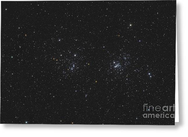 Ngc 884 And Ngc 869, The Double Cluster Greeting Card by Reinhold Wittich