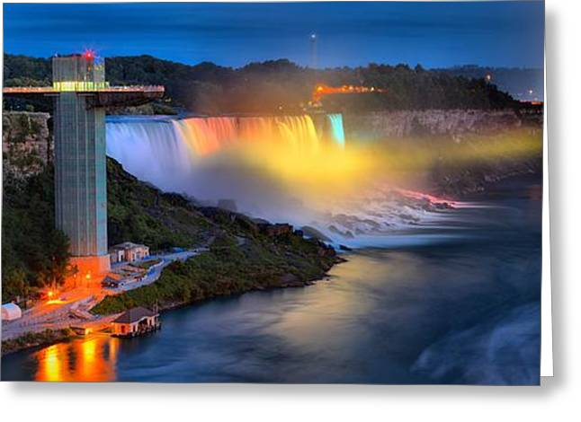 Niagara American And Horseshoe At Night Greeting Card by Adam Jewell
