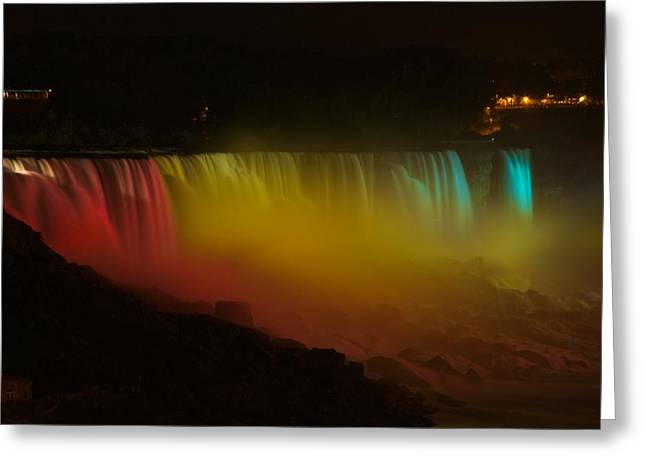Greeting Card featuring the photograph Niagara Falls A Glow by Dave Files