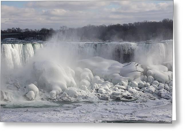 Niagara Falls Awesome Ice Buildup - American Falls New York State Usa Greeting Card by Georgia Mizuleva