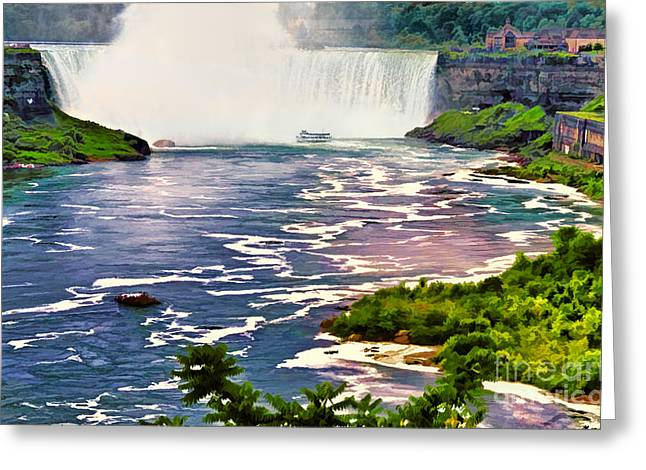 Niagara Falls Canada Maid Of The Mist Colorful Digital Interpretation Greeting Card