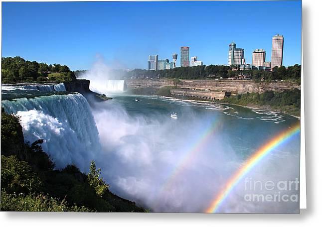 Niagara Falls Double Rainbow Greeting Card