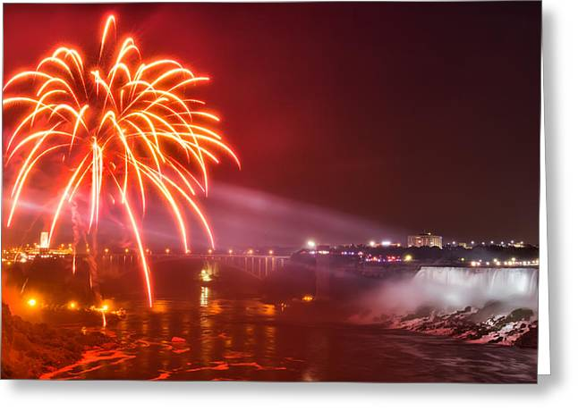 Niagara Falls Fireworks Greeting Card by James Wheeler