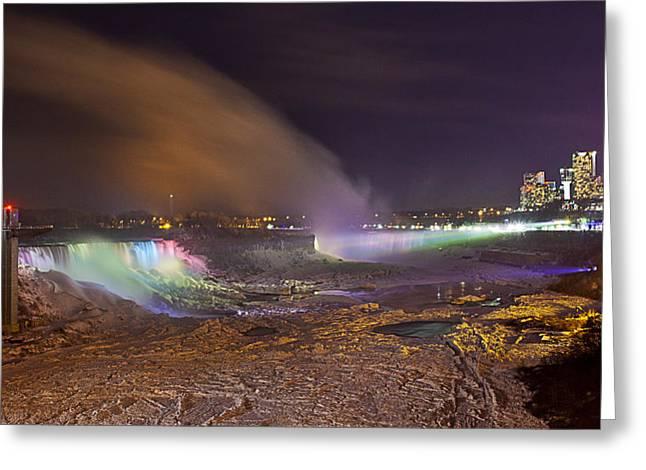 Niagara Falls Ice Bridge Greeting Card by Richard Engelbrecht