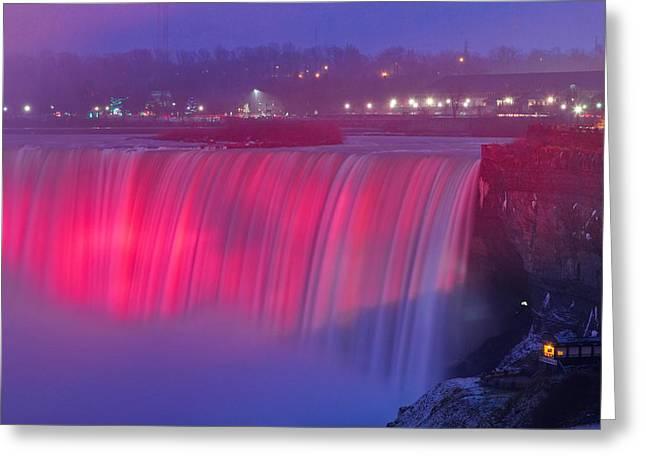Niagara Falls Pretty In Pink Lights. Greeting Card