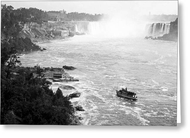 Greeting Card featuring the photograph Niagara Falls With Sightseeing Boat 1904 Vintage Photograph by A Gurmankin