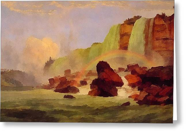 Niagara Falls With View Of Clifton House Greeting Card by Jasper Francis