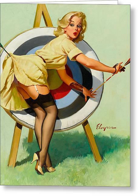 Nice Archery Shot - Retro Pinup Girl Greeting Card