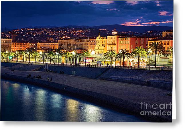 Nice By Night Greeting Card by Inge Johnsson