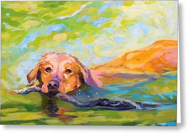 Nice Day For A Swim Greeting Card by Janine Hoefler