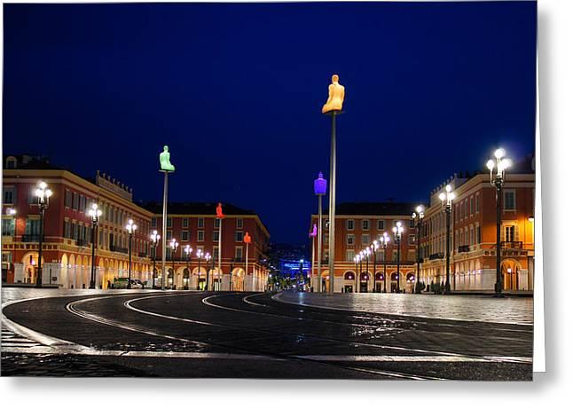 Nice France - Place Massena Blue Hour  Greeting Card