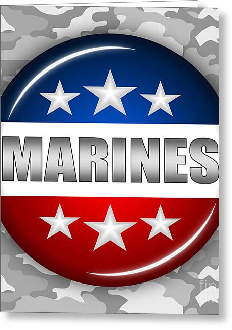 Nice Marines Shield 2 Greeting Card by Pamela Johnson