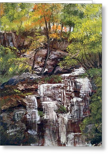 Nice Waterfall In The Forest Greeting Card
