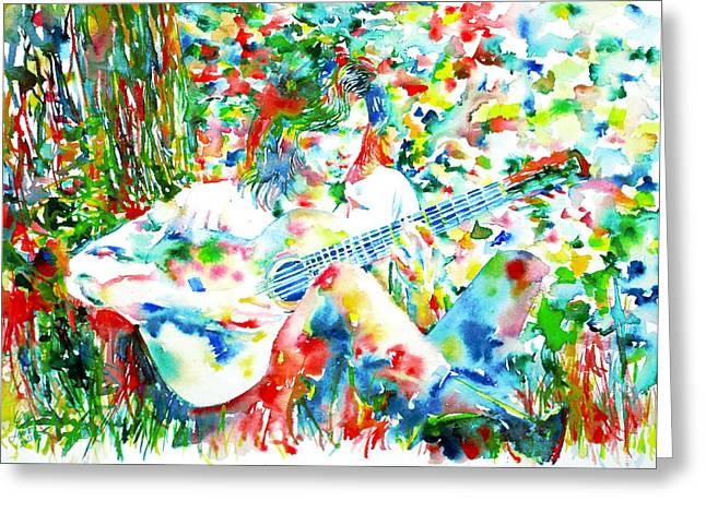 Nick Drake Playing The Guitar Under A Tree Watercolor Portrait Greeting Card by Fabrizio Cassetta