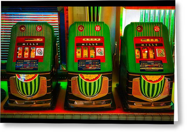 Nickel Dime Quarter Slots Greeting Card by Robert FERD Frank