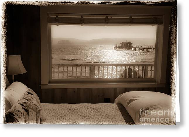 Dreamy Waterfront Cottage Greeting Card by Amy Fearn