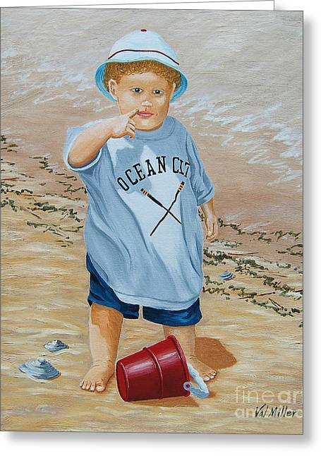 Greeting Card featuring the painting Nicks Red Bucket by Val Miller