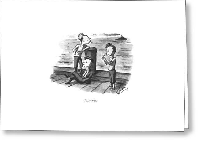 Nicotine Greeting Card by William Steig