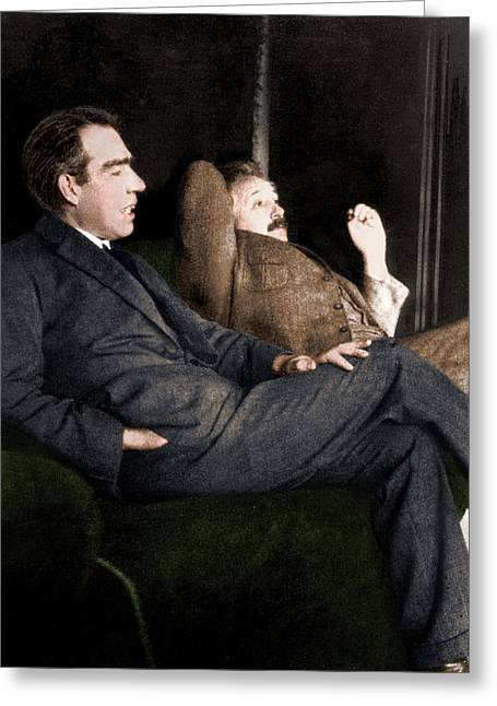 Niels Bohr And Albert Einstein Greeting Card by Photograph By Paul Ehrenfest, Copyright Status Unknown. Coloured By Science Photo Library