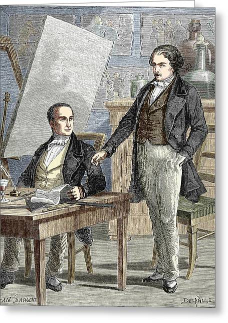 Niepce And Daguerre Partnership Greeting Card by Sheila Terry