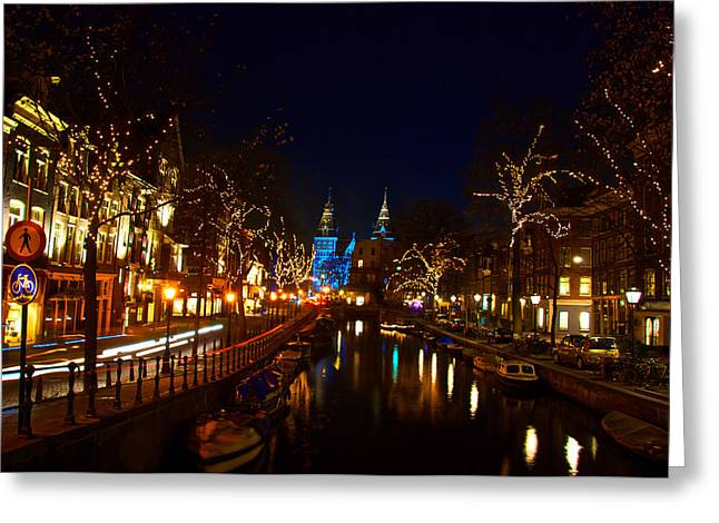Nieuwe Spieglestraat At Night Greeting Card