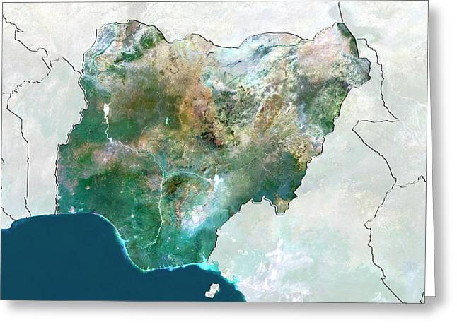 Nigeria Greeting Card by Planetobserver/science Photo Library