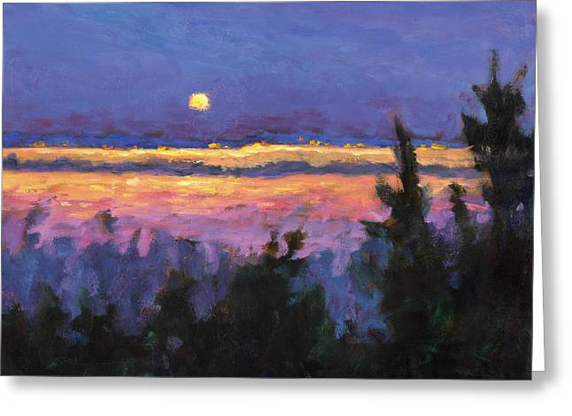 Night Across The Bay Greeting Card by Vernon Reinike