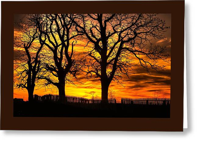 Night Approaches-1a Sunset At The Gettysburg Battlefield Greeting Card by Michael Mazaika