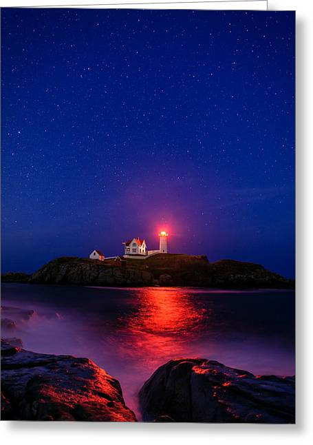 Night At Nubble Light Greeting Card