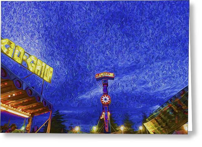Night At The Fair Greeting Card by Paul W Sharpe Aka Wizard of Wonders
