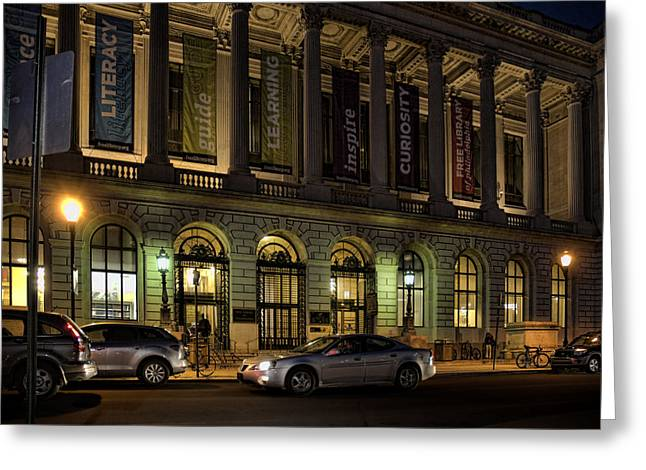 Night At The Library Greeting Card by Robert Culver