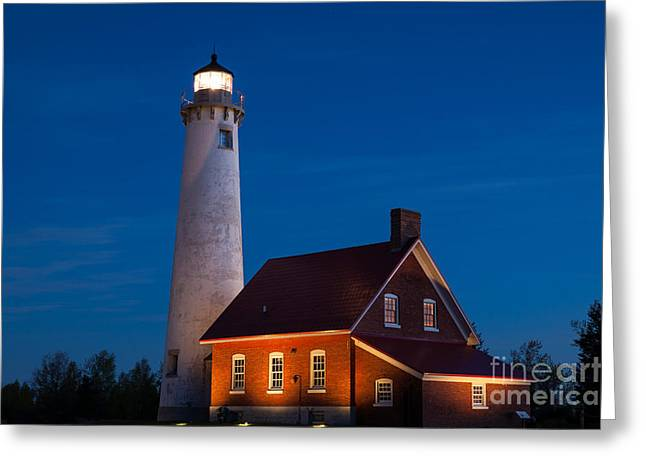 Night At The Lighthouse Greeting Card