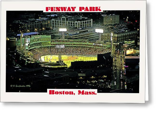 Night Baseball Fenway Park Boston Massachusetts Greeting Card by A Gurmankin