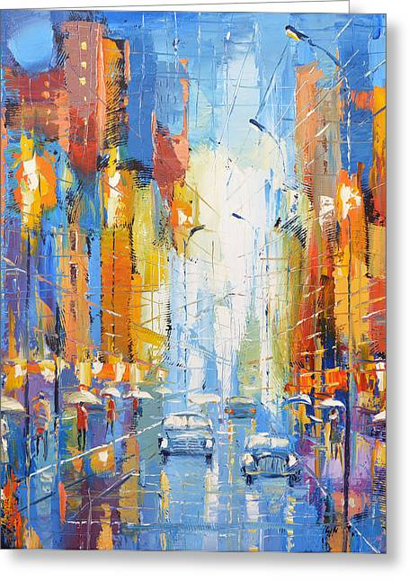 Greeting Card featuring the painting Night Boulevard by Dmitry Spiros