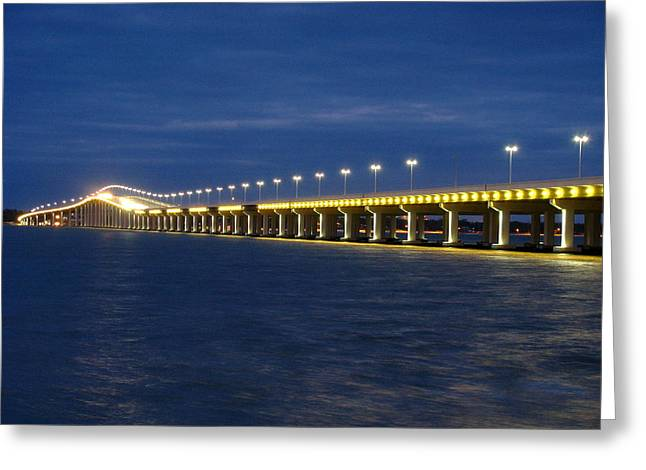 Night Bridge Greeting Card by Steve Phillips