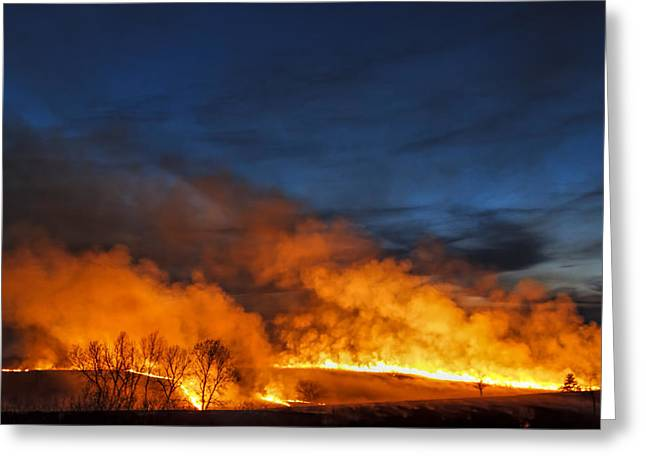 Night Burn In The Flint Hills Greeting Card