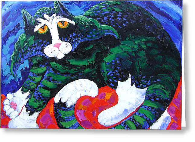 Night Cat Greeting Card by Isabelle Gervais