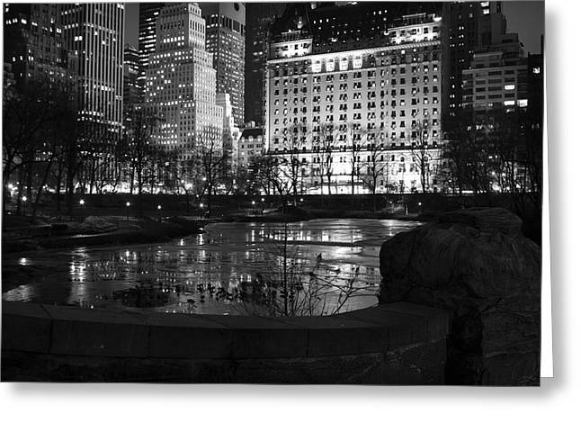 Night Central Park Lake H Greeting Card