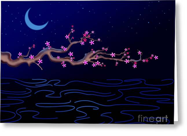 Night Cherry Blossoms Greeting Card by Bedros Awak