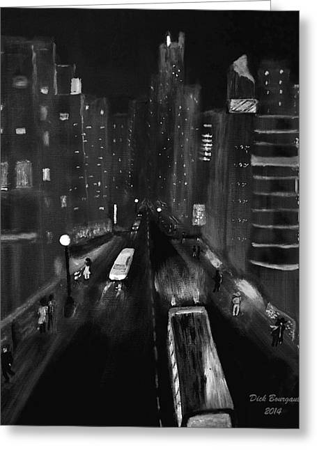 Night City Scape Greeting Card