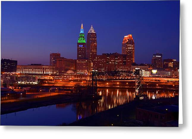 Night Cleveland Skyline From The South Greeting Card