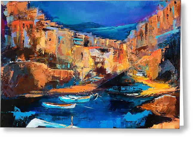 Night Colors Over Riomaggiore - Cinque Terre Greeting Card