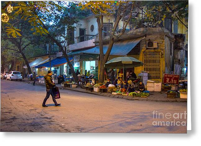 Night Crossing Hanoi Greeting Card by Rick Bragan