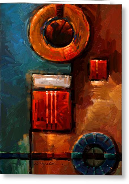 Night Engine - Abstract Red Gold And Blue Print Greeting Card by Kanayo Ede